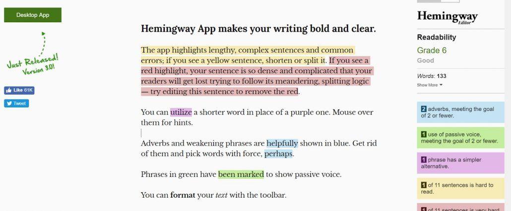 hemingway app text editor homepage