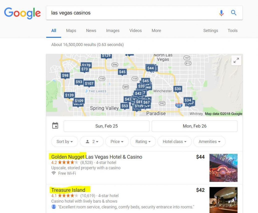 las vegas casinos google search results