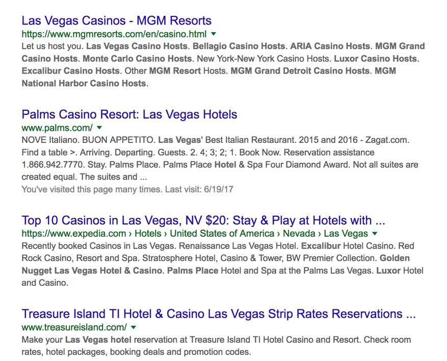 organic results for las vegas casinos