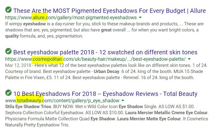 eyeshadow palette serp results screenshot