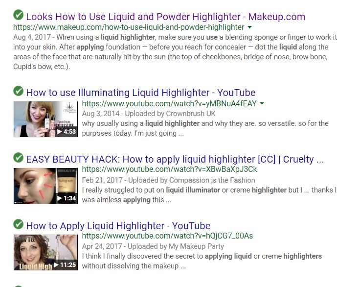 top serp results for how to use highlighter