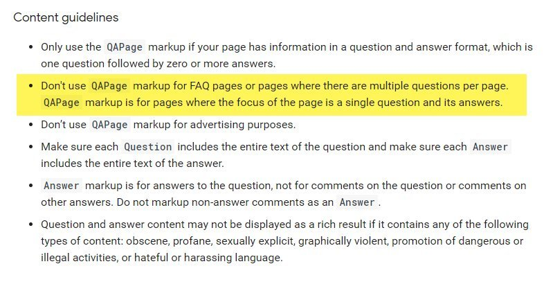Google Content Guidelines QA Page