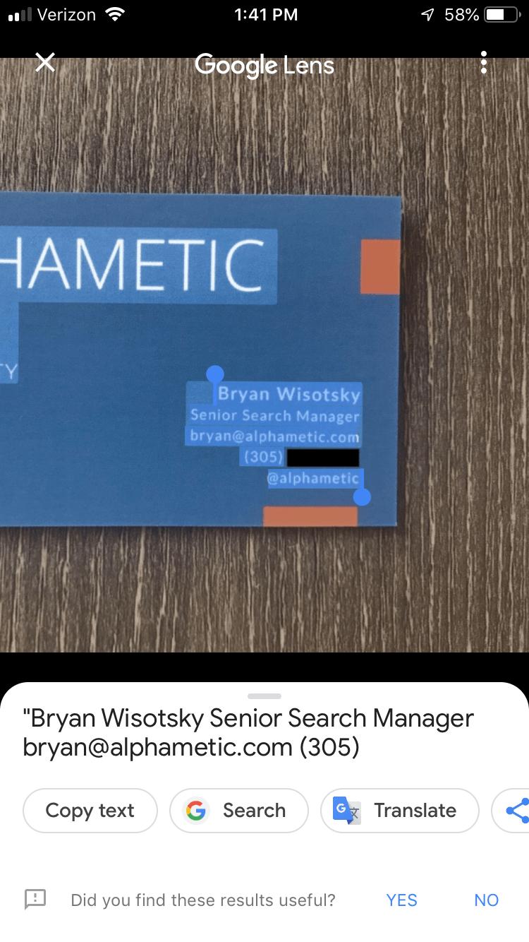 business card google lens result