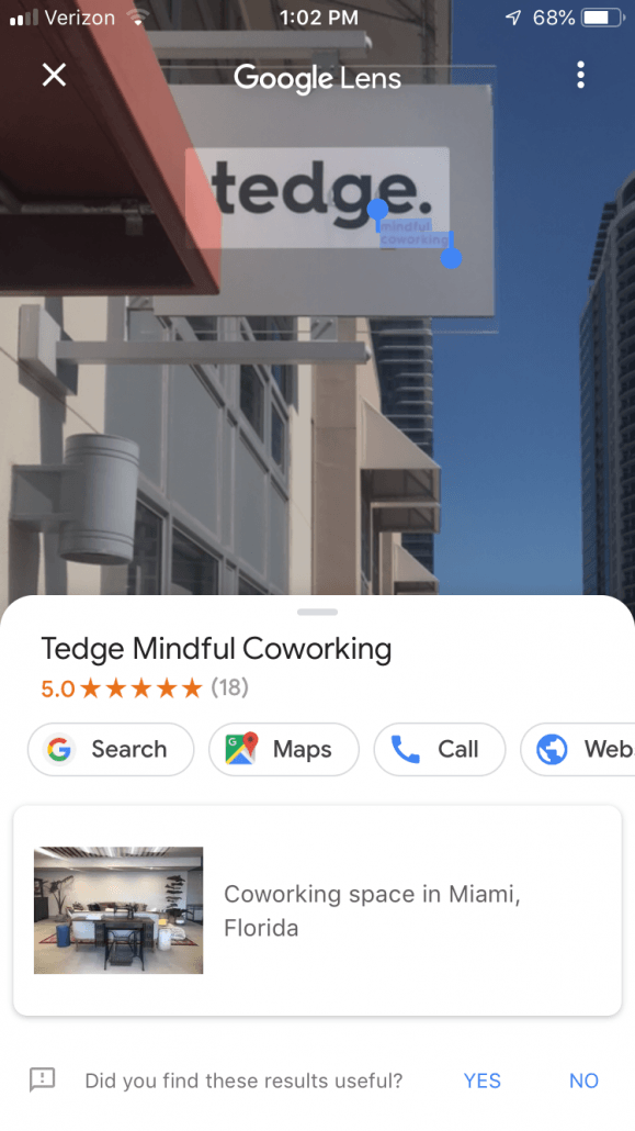 tedge coworking space sign google lens