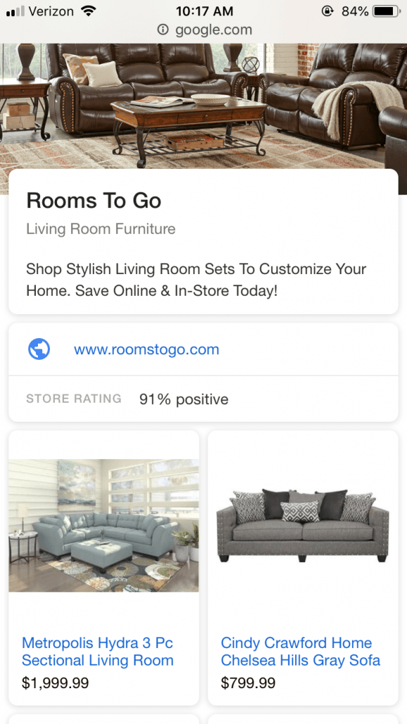 google showcase shopping ads rooms to go