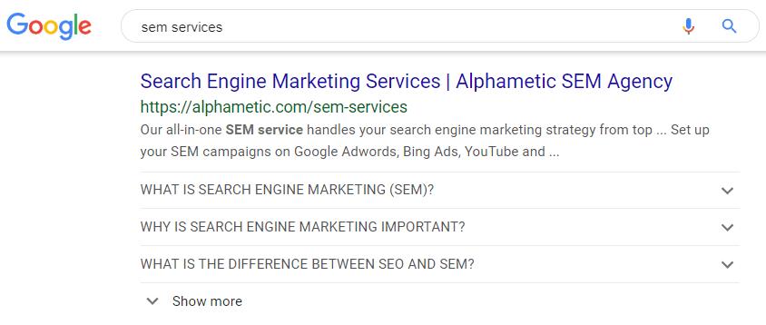 faq schema sem services